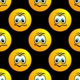 Nahtloses Muster mit traurigem rundem Gesichtscharakter Lizenzfreie Stockbilder