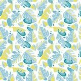 Nahtloses Muster mit tropischen Blättern in der flachen Art Lizenzfreie Stockbilder