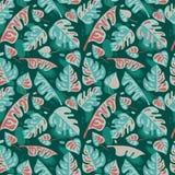 Nahtloses Muster mit tropischen Blättern in der flachen Art Stockfotos