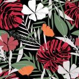 Nahtloses Muster mit tropischen Blättern und Blumen auf schwarzem Hintergrund ENV 10 Dschungeldruck Gewebe und Drucken floral vektor abbildung