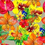 Nahtloses Muster mit tropischen Blumen Altes gelbes Papier auf dunklem Hintergrund Lizenzfreie Abbildung