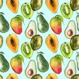 Nahtloses Muster mit tropischen exotischen Früchten Avocado-, Mango- und Kiwischeibe Stockbild