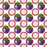 Nahtloses Muster mit tropischen exotischen Früchten Mangostanfruchtscheibe auf weißem Hintergrund Stockbild