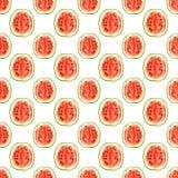 Nahtloses Muster mit tropischen exotischen Früchten Wassermelonen-Scheibe auf weißem Hintergrund Lizenzfreie Stockfotografie
