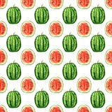 Nahtloses Muster mit tropischen exotischen Früchten Wassermelonen-Scheibe auf weißem Hintergrund Stockfoto