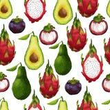 Nahtloses Muster mit tropischen Früchten herein Lizenzfreies Stockbild