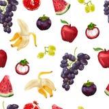 Nahtloses Muster mit tropischen Früchten und Trauben Stockfotografie