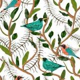 Nahtloses Muster mit tropischen Vögeln, Liane und Blättern Exotischer botanischer Hintergrund vektor abbildung