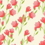 Nahtloses Muster mit Tulpen Stockfotos