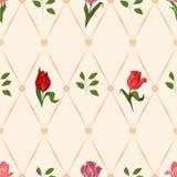 Nahtloses Muster mit Tulpen Stockbilder