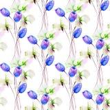 Nahtloses Muster mit Tulpen- und Edelwickeblumen Lizenzfreies Stockbild