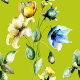 Nahtloses Muster mit Tulpen- und Lilienblumen Lizenzfreies Stockfoto
