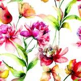 Nahtloses Muster mit Tulpen- und Pfingstrosenblumen Lizenzfreie Stockfotos