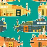Nahtloses Muster mit Unterseeboot Retro- bunte Hand gezeichneter Vektor Stockfoto