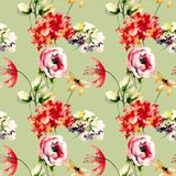 Nahtloses Muster mit ursprünglichen Blumen Lizenzfreie Stockbilder