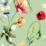 Nahtloses Muster mit ursprünglichen Blumen Lizenzfreies Stockbild