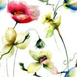 Nahtloses Muster mit ursprünglichen Blumen Lizenzfreies Stockfoto