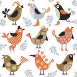 Nahtloses Muster mit Vögeln Lizenzfreie Stockfotos