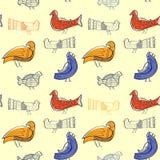 Nahtloses Muster mit Vögeln Stockfoto