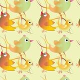 Nahtloses Muster mit Vögeln Kindische Illustration in der Karikaturart Lizenzfreie Stockfotos