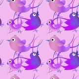 Nahtloses Muster mit Vögeln Kindische Illustration in der Karikaturart Lizenzfreies Stockbild