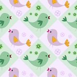 Nahtloses Muster mit Vögeln Kindische Illustration in der Karikaturart Stockfotos
