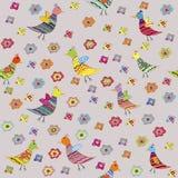 Nahtloses Muster mit Vögeln und Blumen, für Kinder Stockfotografie