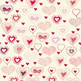 Nahtloses Muster mit Valentinsgrußherzen Stockfotografie