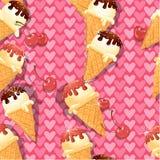 Nahtloses Muster mit Vanilleeiskegeln mit Schokolade Stockbilder