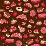 Nahtloses Muster mit verschiedenen Arten des Gebäcks Stockfotografie