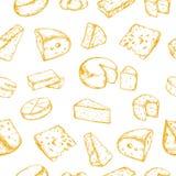 Nahtloses Muster mit verschiedenen Arten des Käses Vektorhand gezeichnet vektor abbildung