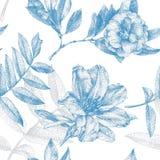 Nahtloses Muster mit verschiedenen Blumen und den Anlagen eigenhändig gezeichnet Lizenzfreie Stockfotos