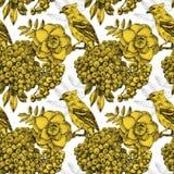 Nahtloses Muster mit verschiedenen Blumen, Vögeln und Anlagen Lizenzfreie Stockbilder