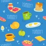 Nahtloses Muster mit verschiedenen Frühstücksprodukten Lizenzfreies Stockbild
