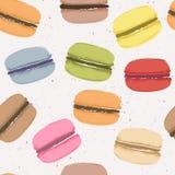 Nahtloses Muster mit verschiedenen Geschmackmakronen Lizenzfreies Stockbild