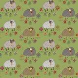 Nahtloses Muster mit verschiedenen Schafen Stockfoto