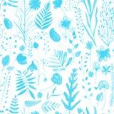 Nahtloses Muster mit vielen Stämmen, Zweigen und Kräutern Stockfotografie