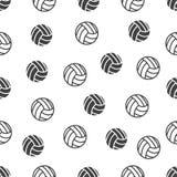 Nahtloses Muster mit Volleyball auf weißem Hintergrund lizenzfreies stockfoto