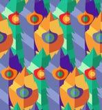 Nahtloses Muster mit von Hand gezeichneten flachen bunten Federn Lizenzfreies Stockbild
