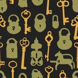 Nahtloses Muster mit Vorhängeschlössern und Schlüsseln Lizenzfreie Stockbilder