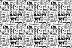 Nahtloses Muster mit Wörtern: glücklich, Freude, Lachen, Lächeln, Glück, lol, Liebe, Spaß, Beifall Vektor Transparenter Hintergru lizenzfreie abbildung