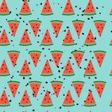 Nahtloses Muster mit Wassermelonenscheiben Lizenzfreie Stockfotos