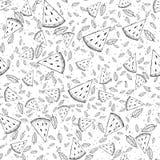 Nahtloses Muster mit Wassermelonenscheiben und tadellosen Blättern Auch im corel abgehobenen Betrag Lizenzfreies Stockbild
