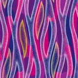 Nahtloses Muster mit Weiß punktierte Streifen der Zebrahaut auf dem bunten Hintergrund Tierhintergrund in dotwork Art Lizenzfreie Stockbilder