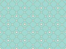 Nahtloses Muster mit weißem Herzen und Punkt auf einem Türkishintergrund für Valentinstag Auch im corel abgehobenen Betrag Stockfotografie