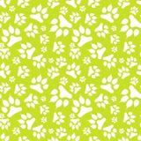Nahtloses Muster mit weißem Hundeabdruck und Greifer lokalisiert auf grünem Hintergrund Lizenzfreie Stockfotos