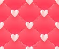 Nahtloses Muster mit weißen Herzen auf einem rosa Hintergrund für Valentinstag Auch im corel abgehobenen Betrag Stockbild