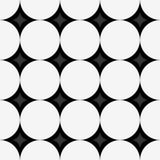 Nahtloses Muster mit weißen Kreisen und Diamanten auf schwarzem Hintergrund Lizenzfreies Stockfoto