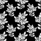 Nahtloses Muster mit weißen Rosen auf dem schwarzen Hintergrund. Stockfoto