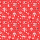 Nahtloses Muster mit weißen Schneeflocken auf rotem Hintergrund Flache Linie schneiende Ikonen, nette Schneeflocken wiederholen T lizenzfreie abbildung